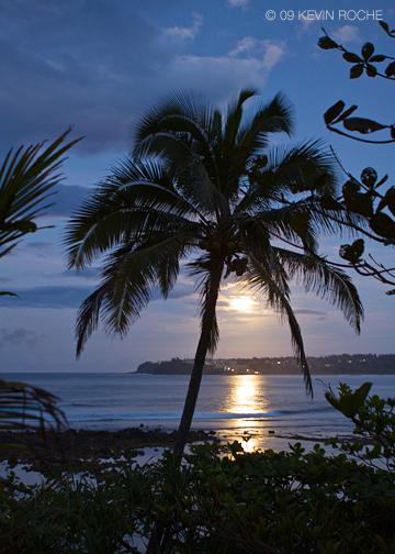 Full moon rising over Hanalei Bay