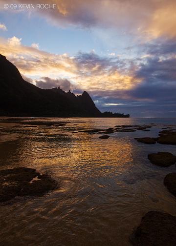 Bali Hai at sunset, Tunnels beach, north shore Kauai